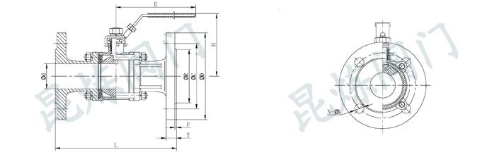 三片式法兰球阀,Q41F三片式球阀结构图
