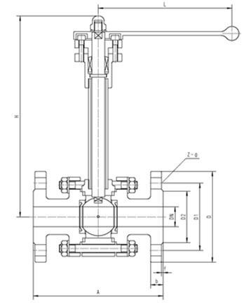 法兰低温球阀,低温法兰球阀,DQ41F低温球阀结构图