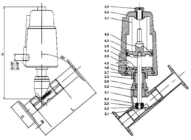 不锈钢气动角座阀,不锈钢快装角座阀,全不锈钢气动快装角座阀结构图