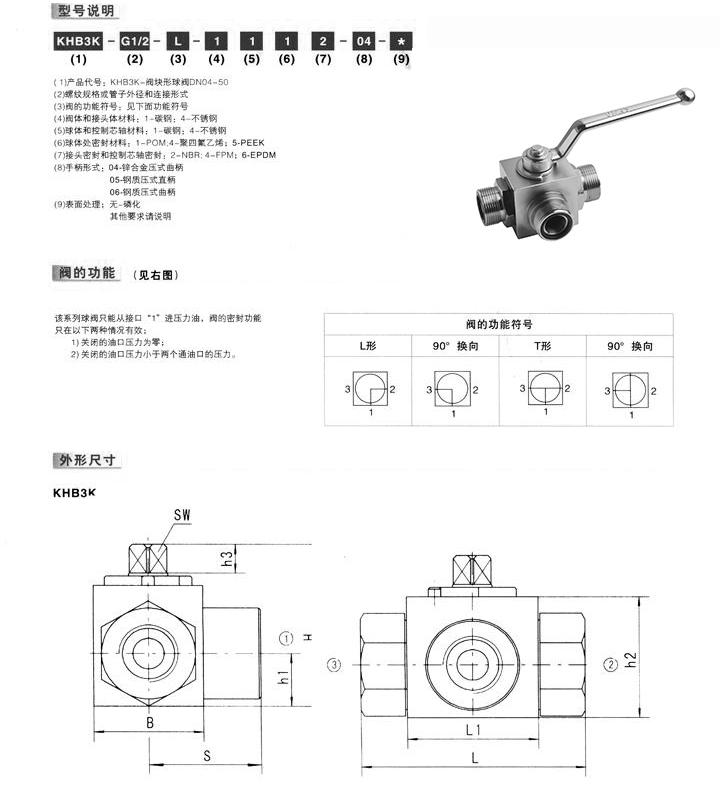 KHB3K液压球阀,三通液压球阀,二位三通液压球阀结构图尺寸